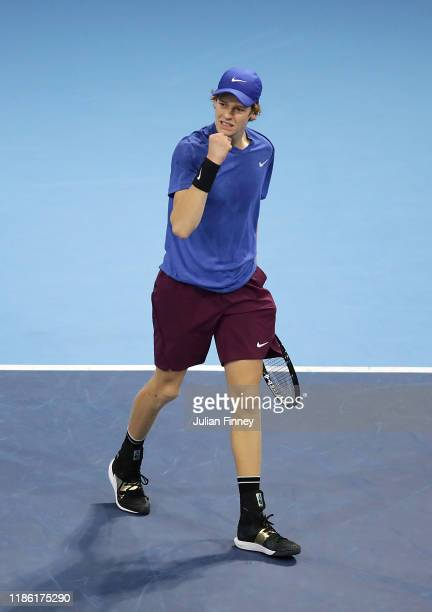 Jannik Sinner of Italy celebrates a set against Ugo Humbert of France during Day Three of the Next Gen ATP Finals at Allianz Cloud on November 07...