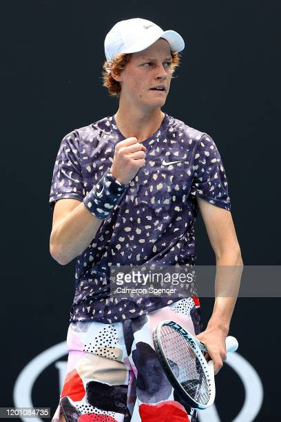 Jannik Sinner of Italy celebrates after winning a point during his Men's Singles second round match against Marton Fucsovics of Hungary on day three...