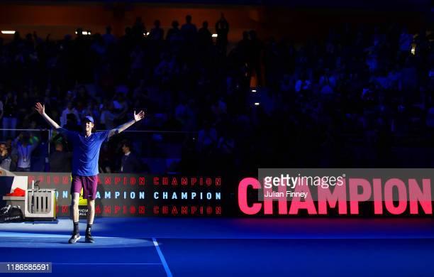 Jannik Sinner of Italy celebrates defeating Alex de Minaur of Australia in the final during Day Five of the Next Gen ATP Finals at Allianz Cloud on...