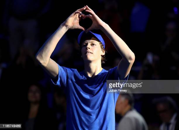 Jannik Sinner of Italy celebrates defeating Frances Tiafoe of USA during Day One of the Next Gen ATP Finals at Allianz Cloud on November 05 2019 in...