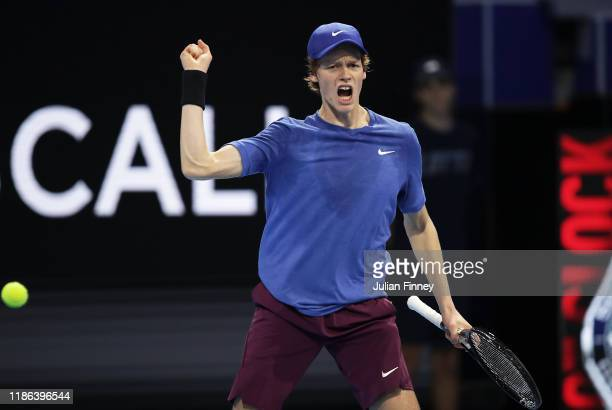 Jannik Sinner of Italy celebrates defeating Miomir Kecmanovic of Serbia in the semi finals during Day Four of the Next Gen ATP Finals at Allianz...