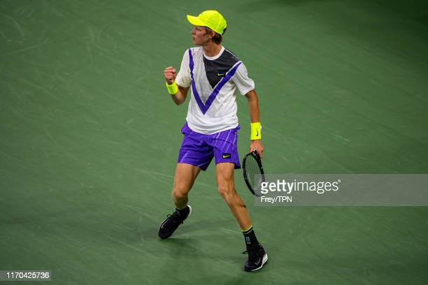 Jannik Sinner of Italy celebrates during his match against Stan Wawrinka of Switzerland in the first round of the US Open at the USTA Billie Jean...