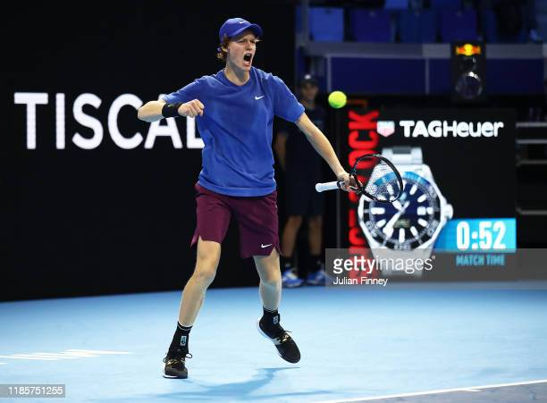 Jannik Sinner of Italy celebrates in his match against Frances Tiafoe of USA during Day One of the Next Gen ATP Finals at Allianz Cloud on November...