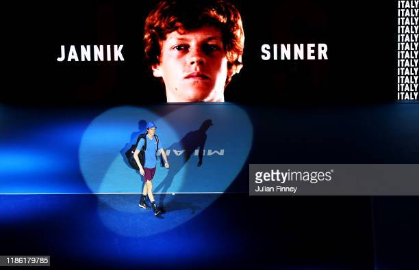 Jannik Sinner of Italy enters the court before his match against Ugo Humbert of France during Day Three of the Next Gen ATP Finals at Allianz Cloud...