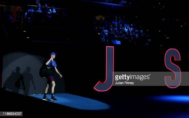 Jannik Sinner of Italy enters the court before playing Alex de Minaur of Australia during Day Five of the Next Gen ATP Finals at Allianz Cloud on...