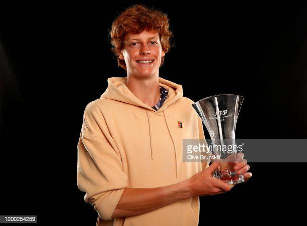 Jannik Sinner of Italy holds the 2019 ATP Newcomer of The Year Trophy ahead of the 2020 Australian Open at Melbourne Park on January 18 2020 in...