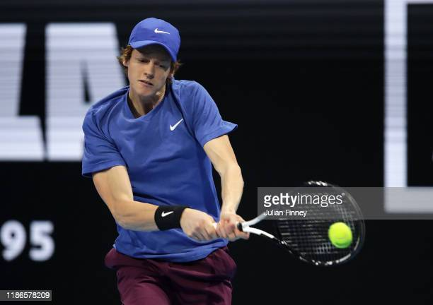 Jannik Sinner of Italy in action against Alex de Minaur of Australia during Day Five of the Next Gen ATP Finals at Allianz Cloud on November 09 2019...