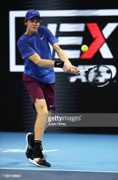 Jannik Sinner of Italy in action against Frances Tiafoe of USA during Day One of the Next Gen ATP Finals at Allianz Cloud on November 05 2019 in...