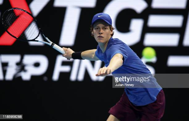 Jannik Sinner of Italy in action against Mikael Ymer of Sweden during Day Two of the Next Gen ATP Finals at Allianz Cloud on November 06 2019 in...