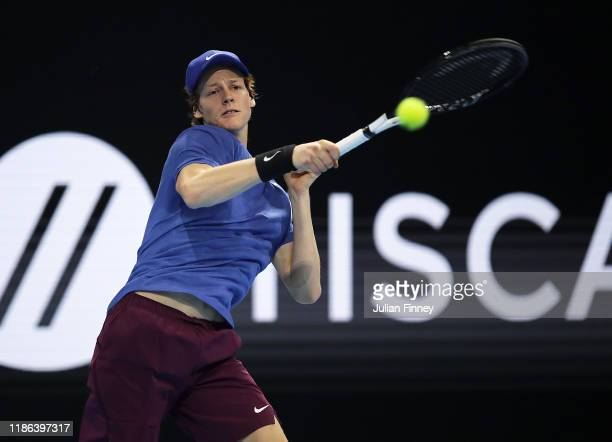 Jannik Sinner of Italy in action against Miomir Kecmanovic of Serbia in the semi finals during Day Four of the Next Gen ATP Finals at Allianz Cloud...