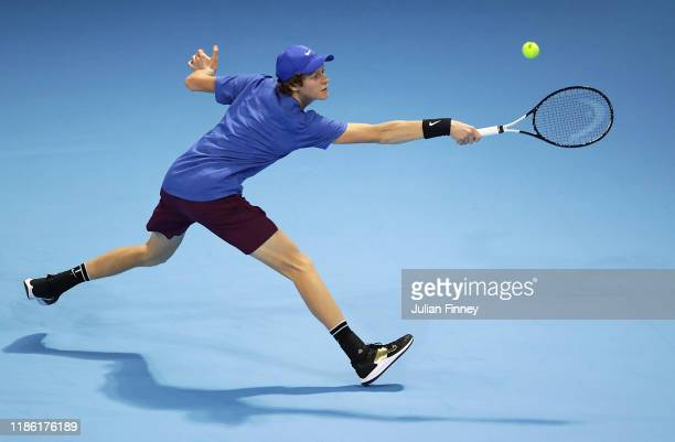 Jannik Sinner of Italy in action against Ugo Humbert of France during Day Three of the Next Gen ATP Finals at Allianz Cloud on November 07 2019 in...