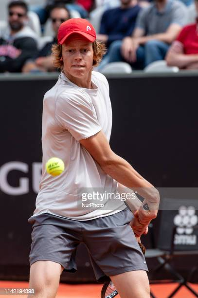 Jannik Sinner of Italy in action during his prequalification match against Lorenzo Musetti of Italy during the Internazionali BNL D'Italia Italian...