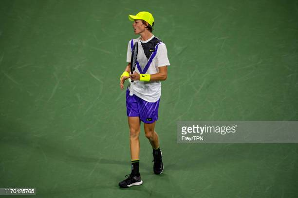 Jannik Sinner of Italy looks to his team during his match against Stan Wawrinka of Switzerland in the first round of the US Open at the USTA Billie...