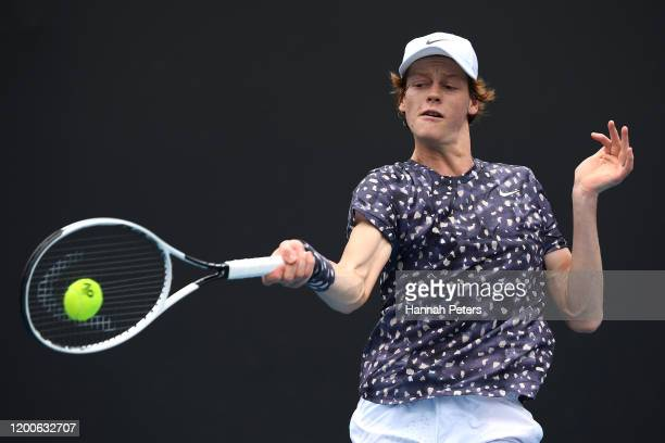 Jannik Sinner of Italy plays a forehand during his Men's Singles first round match against Max Purcell of Australia on day one of the 2020 Australian...