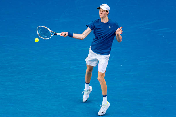 Jannik Sinner of Italy plays a forehand in his singles match against Karen Khachanov of Russia during day six of the ATP 250 Great Ocean Road Open at...