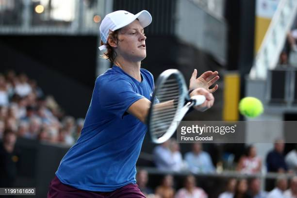 Jannik Sinner of Italy plays a shot to Benoit Paire of France during day one of the 2020 Men's ASB Classic at ASB Tennis Centre on January 13 2020 in...