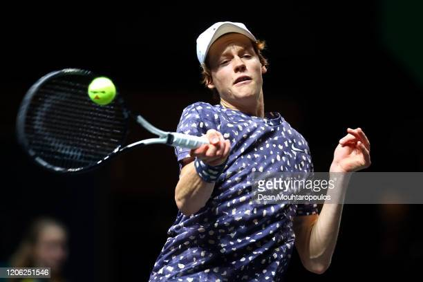 Jannik Sinner of Italy returns a forehand against Pablo Carreno Busta of Spain during Day 7 of the ABN AMRO World Tennis Tournament at Rotterdam Ahoy...