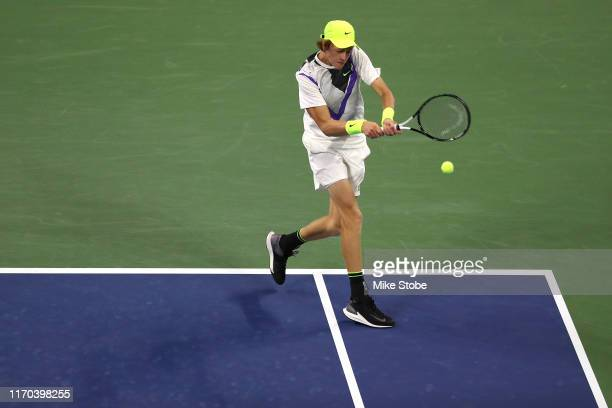 Jannik Sinner of Italy returns a shot during his Men's Singles first round match against Stan Wawrinka of Switzerland during day one of the 2019 US...