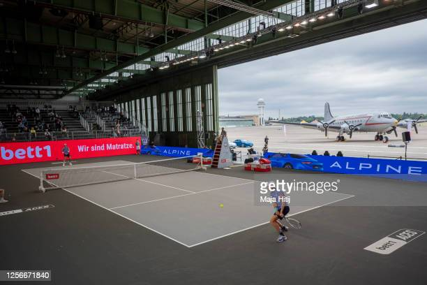 Jannik Sinner of Italy returns the ball to Karen Khachanov of Russia during day 4 of the tennis tournament bett1ACES at Hangar 6 of the former aiport...