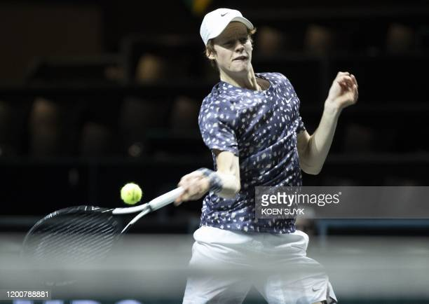 Jannik Sinner of Italy returns the ball to Pablo Carreno Busta of Spain during the ABN AMRO World Tennis Tournament in Rotterdam Netherlands on...