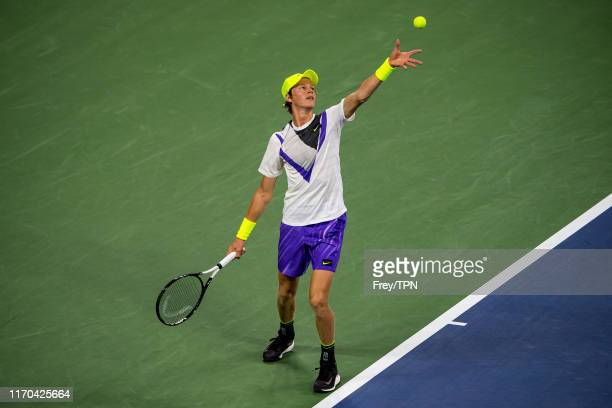 Jannik Sinner of Italy serves against Stan Wawrinka of Switzerland in the first round of the US Open at the USTA Billie Jean King National Tennis...
