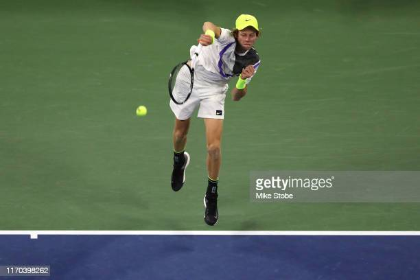 Jannik Sinner of Italy serves the ball during his Men's Singles first round match against Stan Wawrinka of Switzerland during day one of the 2019 US...
