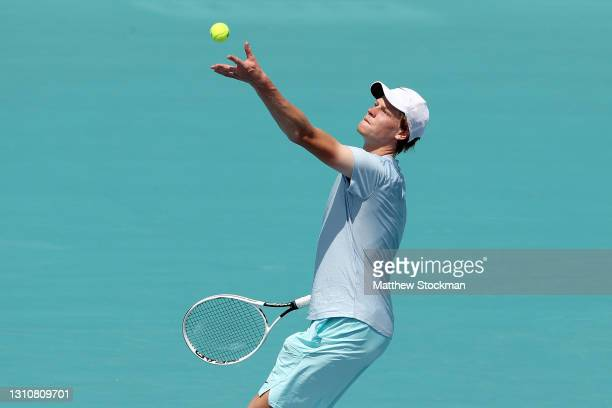 Jannik Sinner of Italy serves to Hubert Hurkacz of Poland during the final of the Miami Open at Hard Rock Stadium on April 04, 2021 in Miami Gardens,...