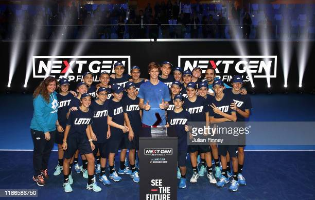 Jannik Sinner of Italy with ball kids after defeating Alex de Minaur of Australia in the final during Day Five of the Next Gen ATP Finals at Allianz...