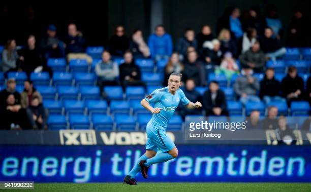 Jannik Skov Hansen of Randers FC in action during the Danish DBU Pokalen Cup quarterfinal match between Randers FC and Silkeborg IF at BioNutria Park...