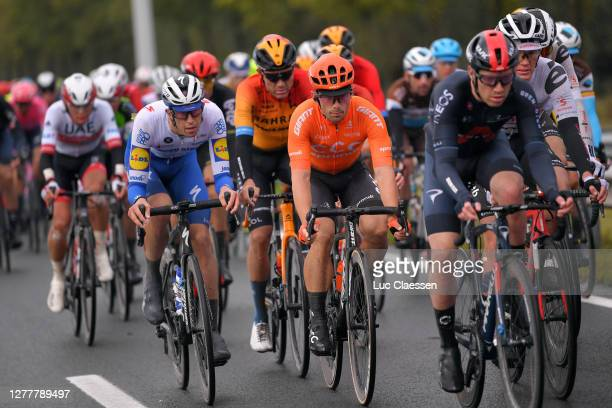 Jannik Steimle of Germany and Team Deceuninck - Quick-Step / Jakub Mareczko of Italy and CCC Team / Christopher Lawless of The United Kingdom and...