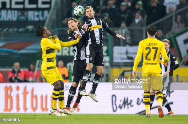 Jannik Vestergaard and Christoph Kramer of Borussia Moenchengladbach in action during the Bundesliga match between Borussia Moenchengladbach and...