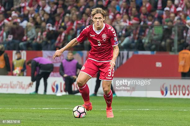 Jannik Vestergaard during the 2018 FIFA World Cup qualification match between Poland and Denmark national football teams at National Stadium in...