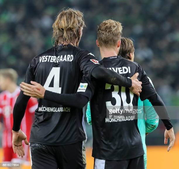 Jannik Vestergaard of Borussia Moenchengladbach and Nico Elvedi of Borussia Moenchengladbach are seen during the Bundesliga match between Borussia...