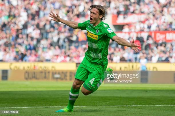 Jannik Vestergaard of Borussia Moenchengladbach celebrate after he scores his teams first goal during the Bundesliga Match between 1FC Koeln and...
