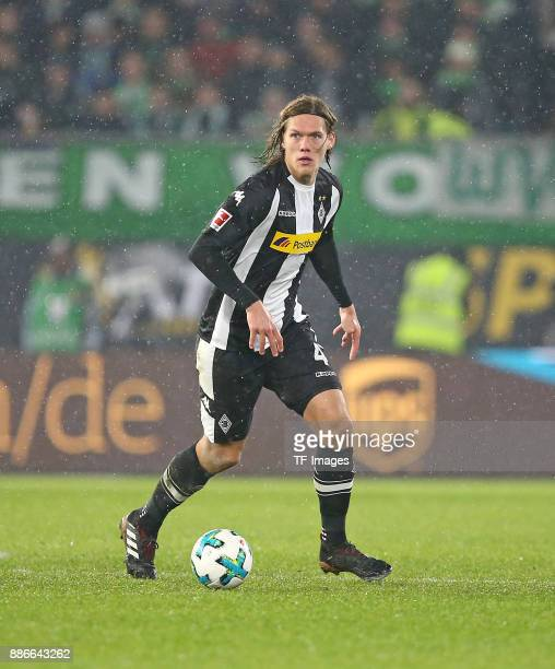 Jannik Vestergaard of Borussia Moenchengladbach controls the ball during the Bundesliga match between VfL Wolfsburg and Borussia Moenchengladbach at...