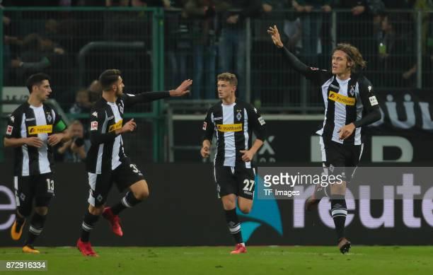 Jannik Vestergaard of Borussia Moenchengladbach Lars Stindl of Borussia Moenchengladbach Vincenzo Grifo of Borussia Moenchengladbach and Mickael...