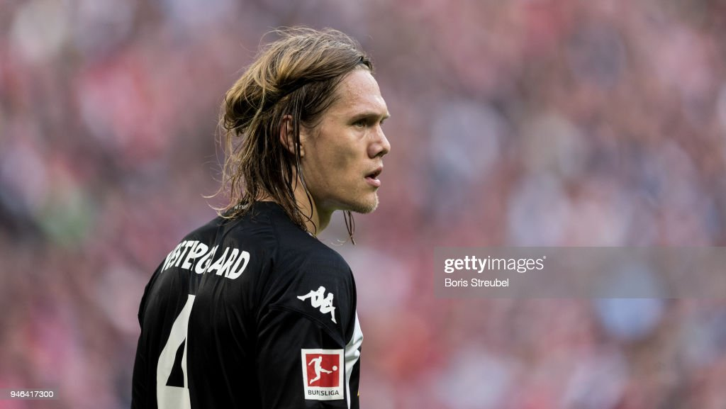 Jannik Vestergaard of Borussia Moenchengladbach looks on during the Bundesliga match between FC Bayern Muenchen and Borussia Moenchengladbach at Allianz Arena on April 14, 2018 in Munich, Germany.