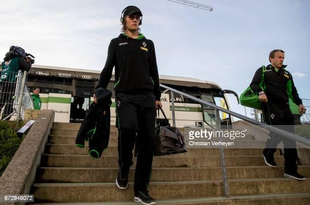 Jannik Vestergaard of Borussia Moenchengladbach prior the DFB Cup Semi Final between Borussia Moenchengladbach and Eintracht Frankfurt at...