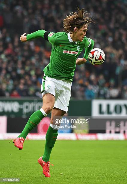 Jannik Vestergaard of Bremen in action on his debut during the Bundesliga match between SV Werder Bremen and Hertha BSC at Weserstadion on February 1...