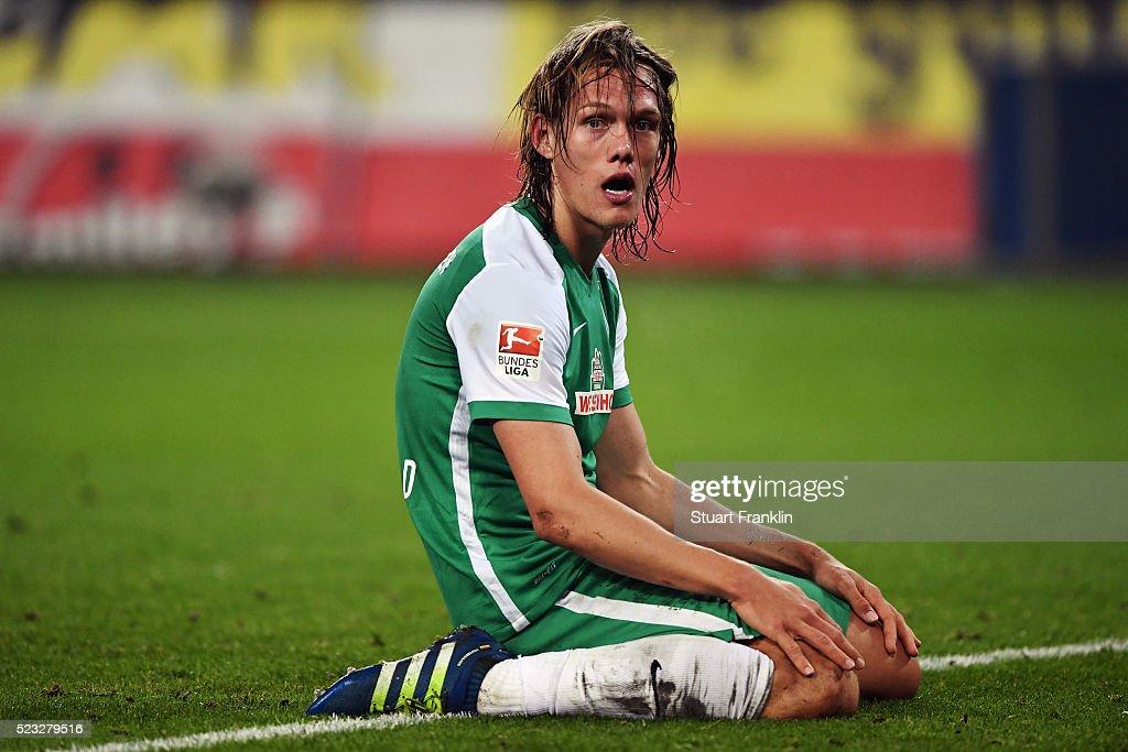 Jannik Vestergaard of Bremen reacts during the Bundesliga match between Hamburger SV and Werder Bremen at Volksparkstadion on April 22, 2016 in Hamburg, Germany.