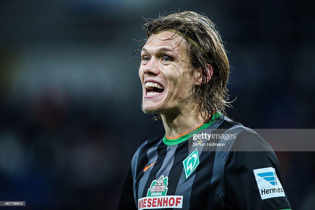Jannik Vestergaard of Bremen reacts during the Bundesliga match between TSG 1899 Hoffenheim and SV Werder Bremen at Wirsol Rhein-Neckar-Arena on February 4, 2015 in Sinsheim, Germany.