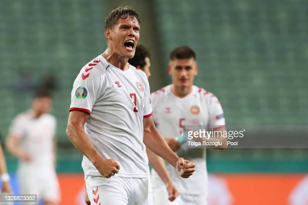 Jannik Vestergaard of Denmark celebrates after victory in the UEFA Euro 2020 Championship Quarter-final match between Czech Republic and Denmark at...