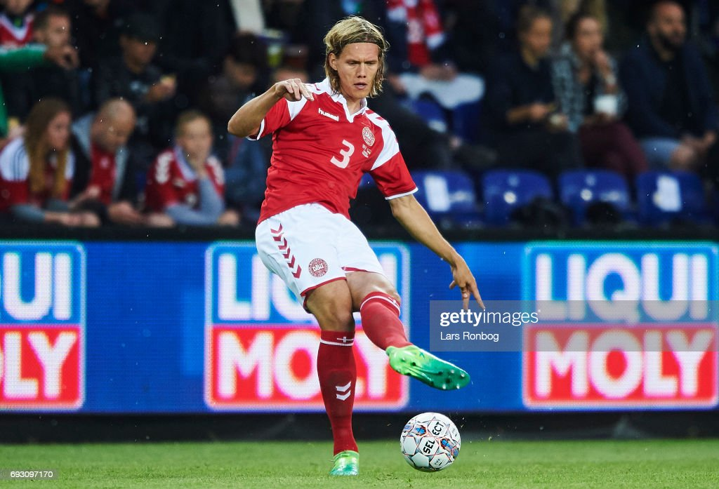 Jannik Vestergaard of Denmark controls the ball during the international friendly match between Denmark and Germany at Brondby Stadion on June 6, 2017 in Brondby, Denmark.