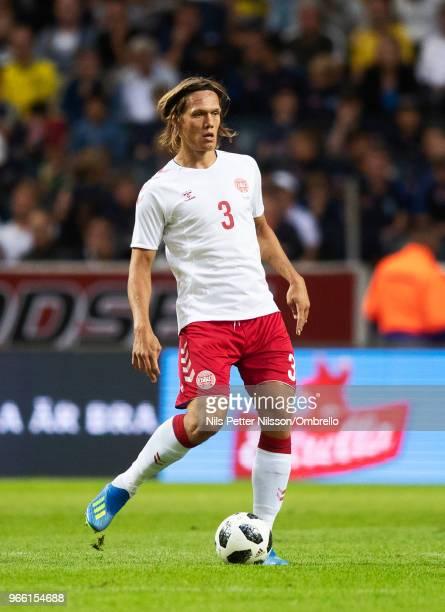 Jannik Vestergaard of Denmark during the International Friendly match between Sweden and Denmark at Friends Arena on June 2 2018 in Solna Sweden