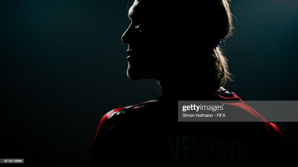 Jannik Vestergaard of Denmark poses during the official FIFA World Cup 2018 portrait session on June 12, 2018 in Anapa, Russia.