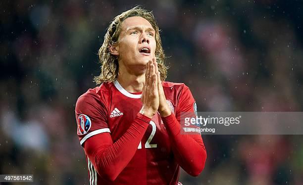 Jannik Vestergaard of Denmark shows frustration during the UEFA EURO 2016 Qualifier PlayOff Second Leg match between Denmark and Sweden at Telia...