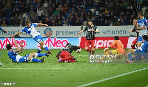 Jannik Vestergaard of Hoffenheim scores his team's third goal during the Bundesliga match between TSG 1899 Hoffenheim and SC Freiburg at Wirsol...