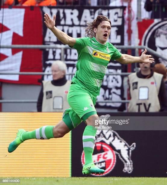 Jannik Vestergaard of Moenchengladbach celebrates his team's first goal during the Bundesliga match between 1 FC Koeln and Borussia Moenchengladbach...