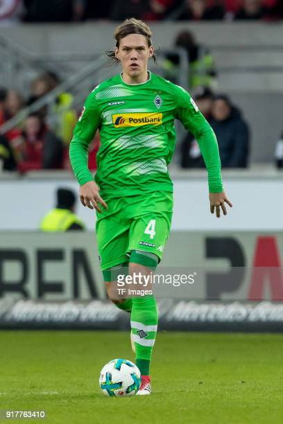 Jannik Vestergaard of Moenchengladbach controls the ball during the Bundesliga match between VfB Stuttgart and Borussia Moenchengladbach at...