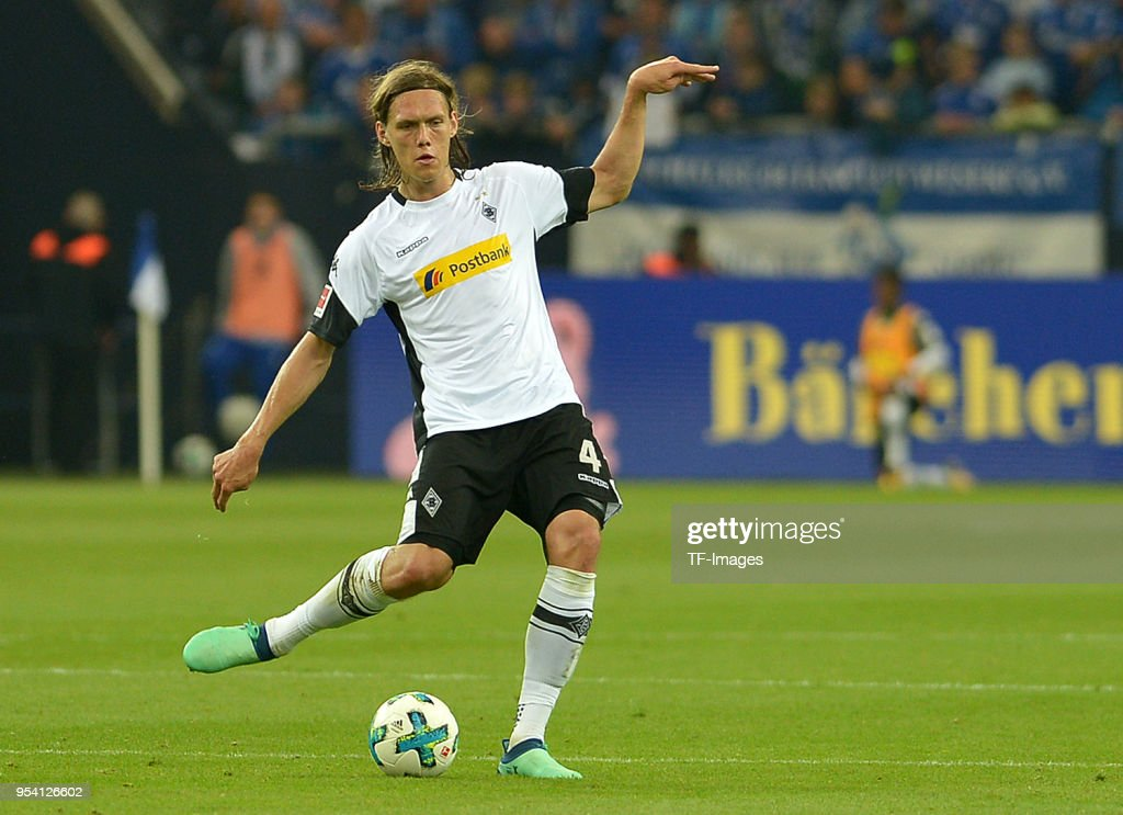 Jannik Vestergaard of Moenchengladbach controls the ball during the Bundesliga match between FC Schalke 04 and Borussia Moenchengladbach at Veltins-Arena on April 28, 2018 in Gelsenkirchen, Germany.